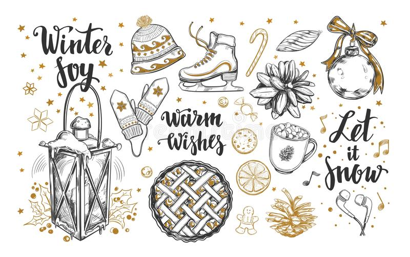 Sistema de la Feliz Navidad y de la Feliz Año Nuevo Los elementos del invierno del vector y modernos dibujados mano brushpen cali stock de ilustración