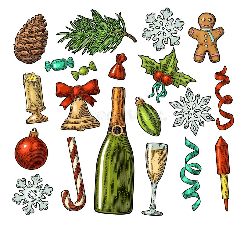 Sistema de la Feliz Navidad y del Año Nuevo Grabado del color del vintage del vector ilustración del vector