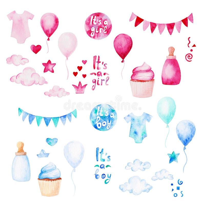Sistema de la fiesta de bienvenida al bebé de la acuarela E Para el diseño, la impresión o el fondo stock de ilustración