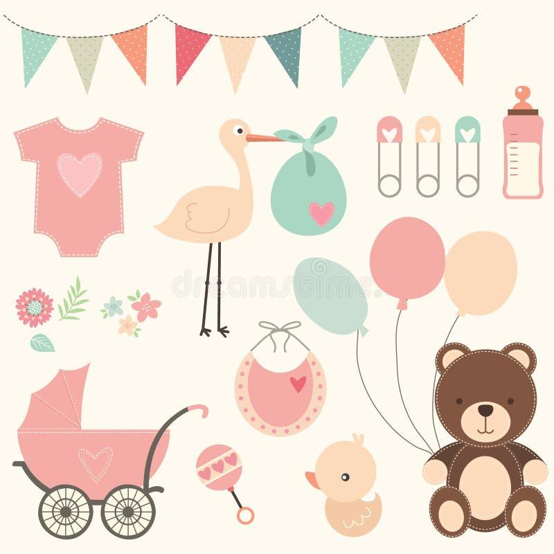 Sistema de la fiesta de bienvenida al bebé ilustración del vector