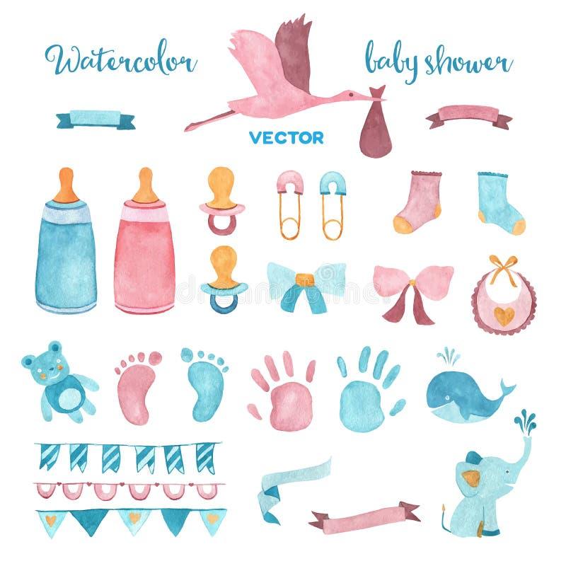Sistema de la fiesta de bienvenida al bebé del vector de la acuarela fotografía de archivo libre de regalías