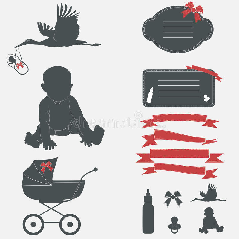 Sistema de la fiesta de bienvenida al bebé Elementos del diseño de la silueta libre illustration