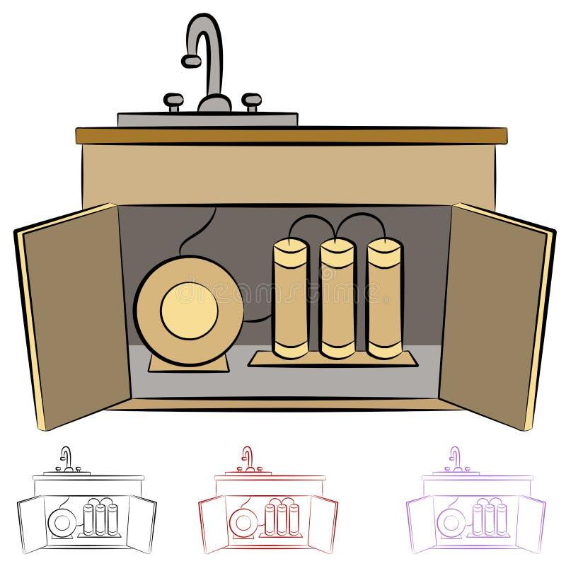 Sistema de la filtración del agua del fregadero de cocina ilustración del vector