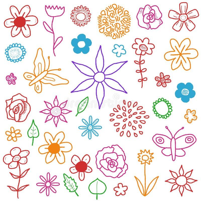 Sistema de la flor ilustración del vector