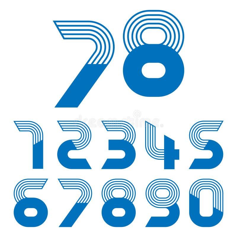 Sistema de la forma de diez números cero a nueve stock de ilustración