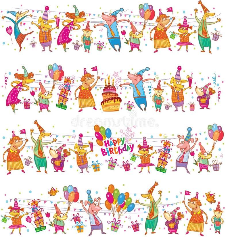 Sistema de la frontera de la historieta del feliz cumpleaños libre illustration