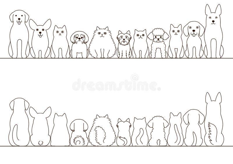 Sistema de la frontera de los gatos y de los perros ilustración del vector