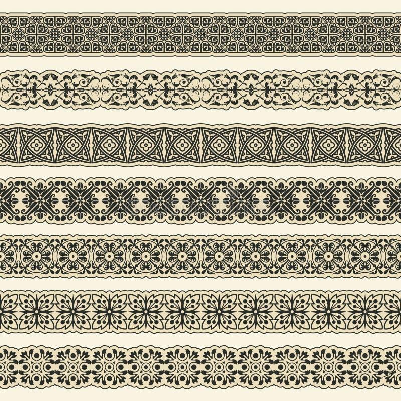 Sistema de la frontera del vintage para el diseño ilustración del vector