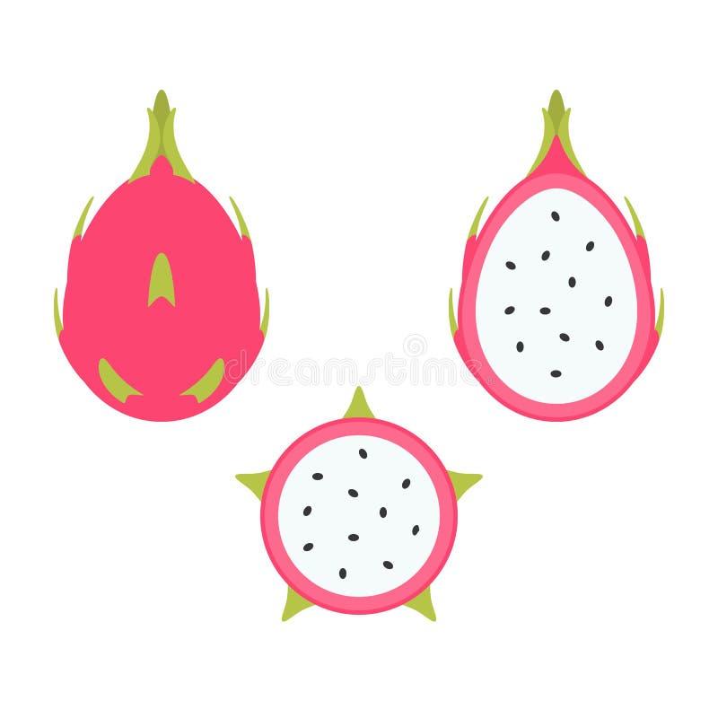 Sistema de la fruta del dragón ilustración del vector