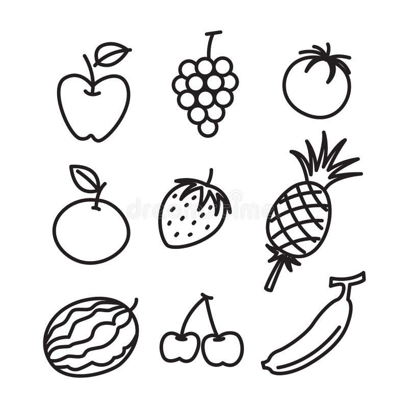 Sistema de la fruta del drenaje de la mano, vector libre illustration