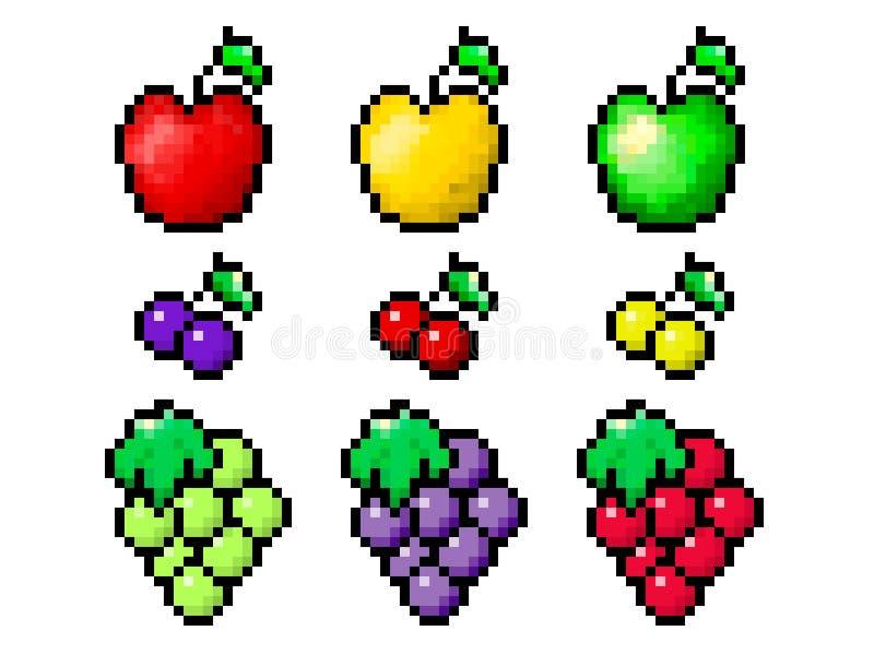 Sistema de la fruta del pixel stock de ilustración