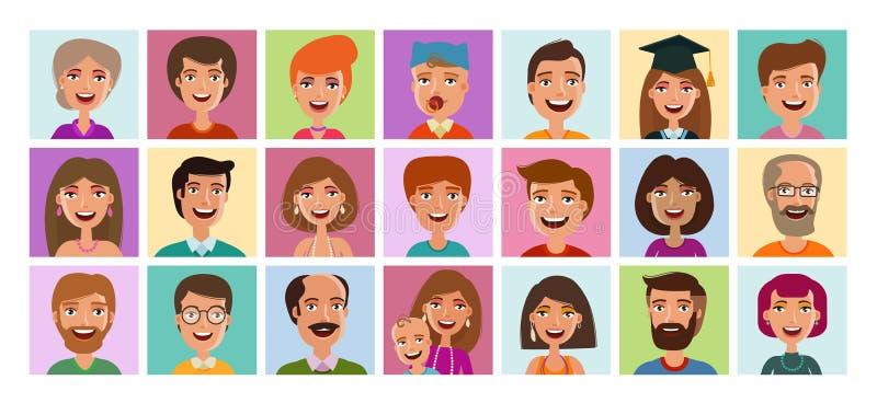 Sistema de la gente de iconos Perfil de Avatar, persona, símbolo del rostro humano, muestra o logotipo Ilustración del vector de  ilustración del vector