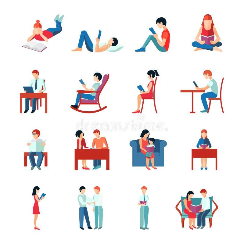Sistema de la gente de la lectura ilustración del vector