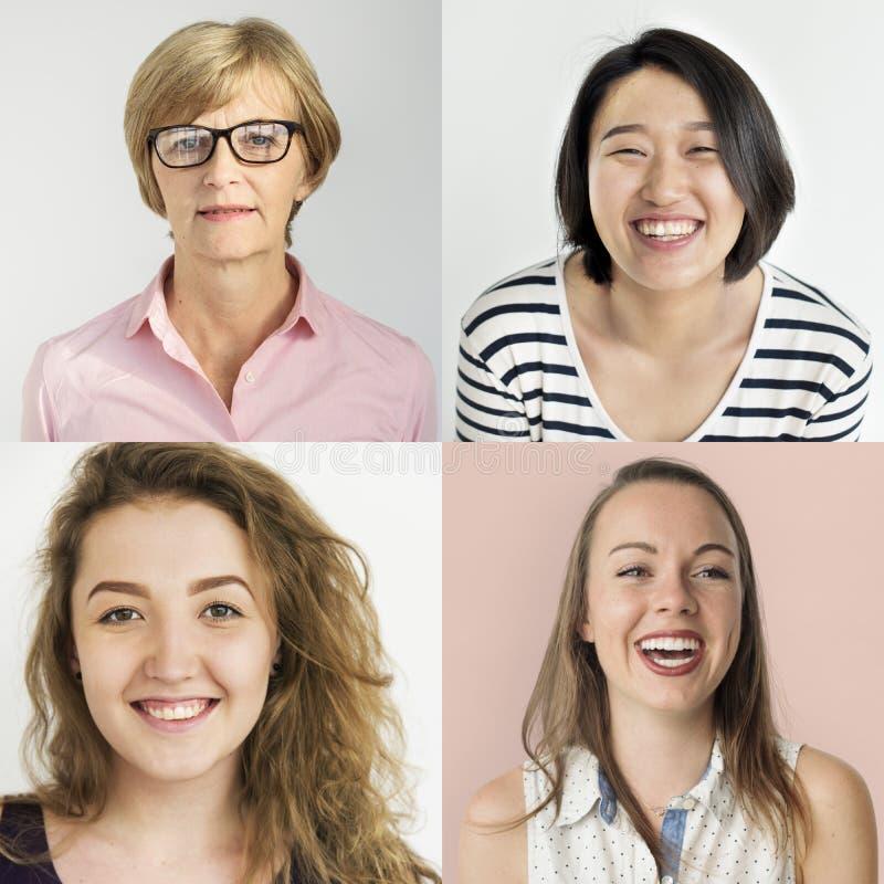 Sistema de la gente de mujeres de la diversidad con la expresión sonriente de la cara foto de archivo libre de regalías