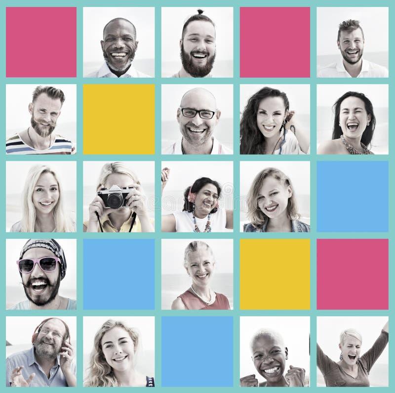 Sistema de la gente del concepto del rostro humano de la diversidad de las caras foto de archivo libre de regalías