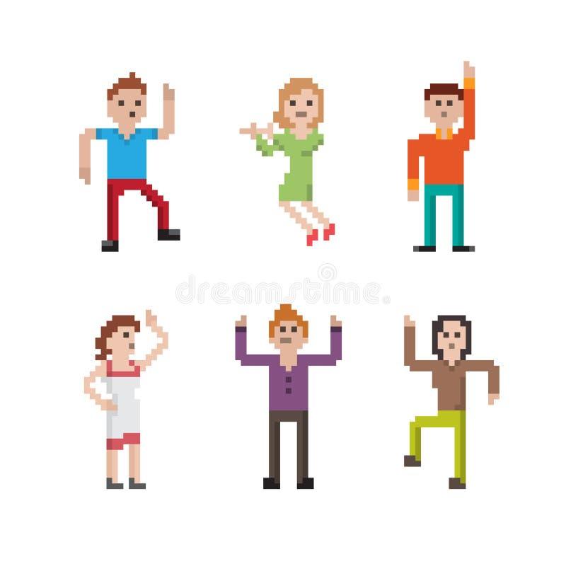 Sistema de la gente del pixel del baile stock de ilustración