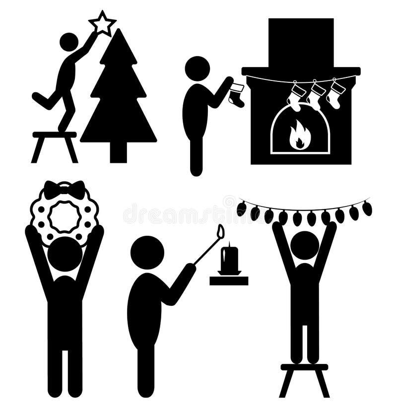 Sistema de la gente Ic de los pictogramas del negro plano del hogar de la decoración de la Navidad stock de ilustración