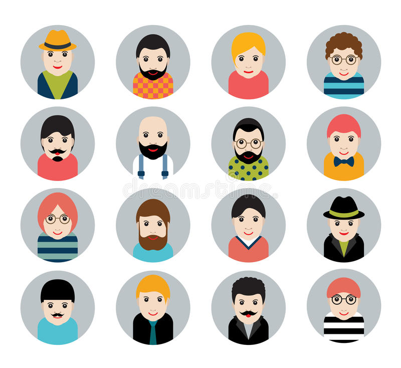 Sistema de la gente, iconos del avatar en estilo estilizado plano Caras del hombre libre illustration