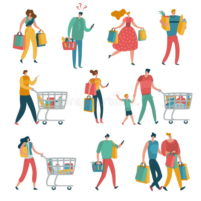 Sistema de la gente de las compras El carro de la familia de la tienda de la mujer del hombre consume al comprador femenino shopa ilustración del vector