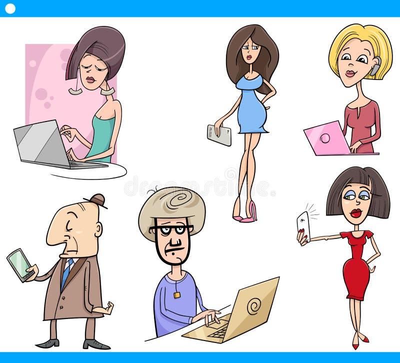 Sistema de la gente y de la historieta de la tecnología stock de ilustración