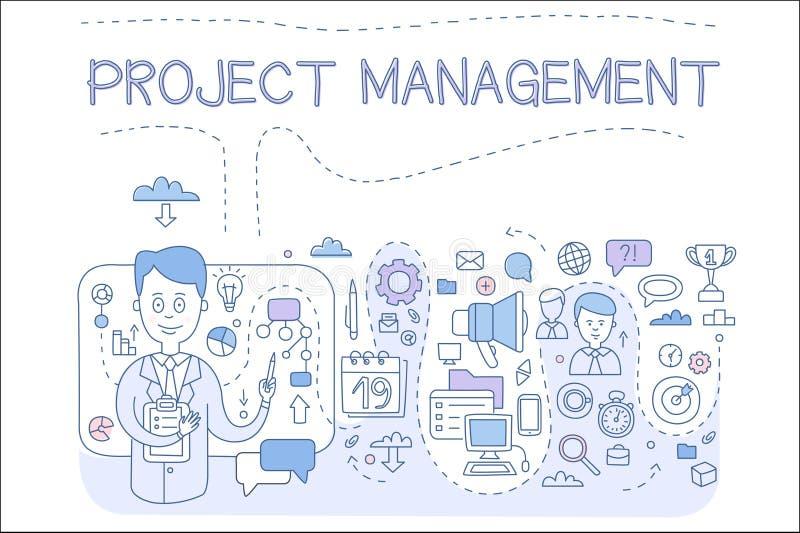 Sistema de la gestión del proyecto, organizando, recursos de la compañía, riesgos, alcanzando metas, elemento del diseño para stock de ilustración