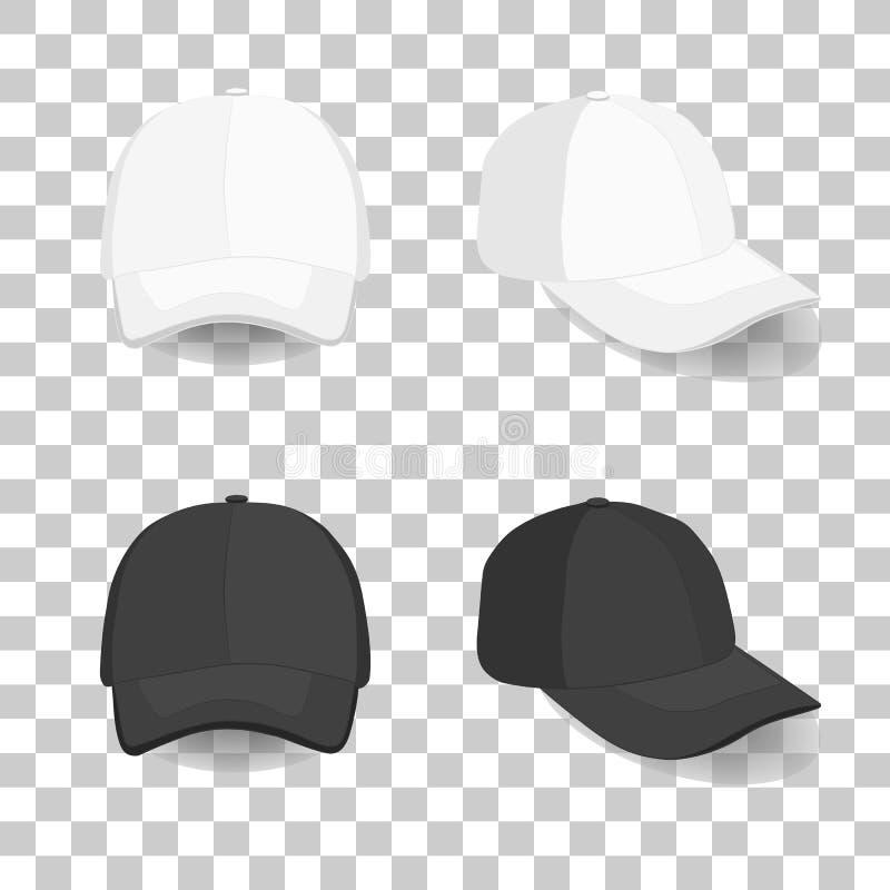 Sistema de la gorra de béisbol blanco y negro realista libre illustration