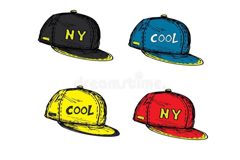 Sistema de la gorra de béisbol realista en diversos colores, libre illustration