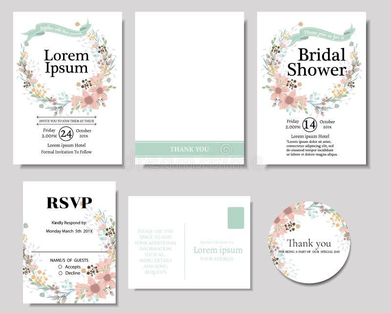 Sistema de la guirnalda colorida de las flores con la tarjeta de la invitación de la boda de la cinta de la menta Colección de la libre illustration