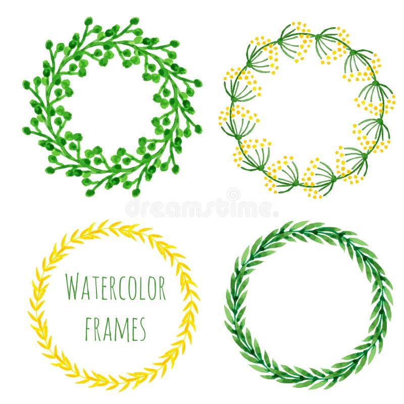 Sistema de la guirnalda de la acuarela Colección redonda floral del marco en color verde y amarillo Tarjeta pintada a mano de la  stock de ilustración