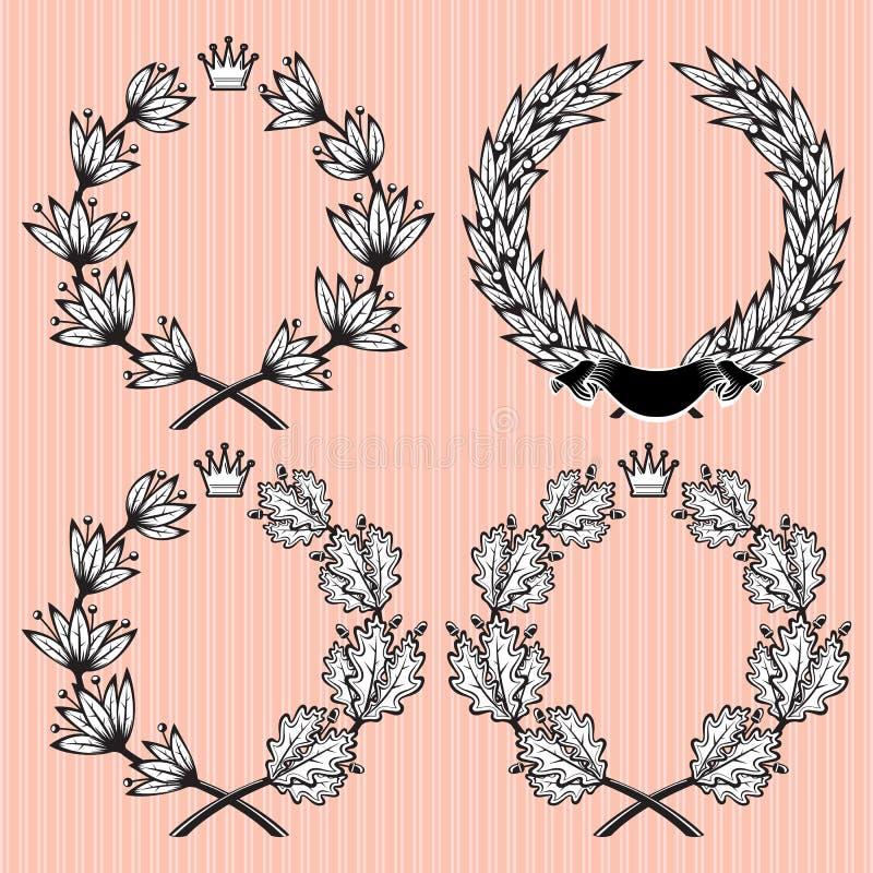 Sistema de la guirnalda de las hojas del laurel y del roble libre illustration