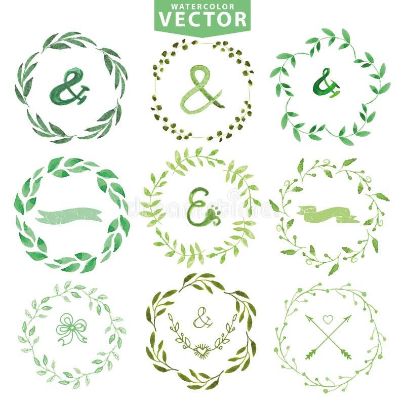 Sistema de la guirnalda de los laureles de la acuarela Marco floral de la vendimia libre illustration
