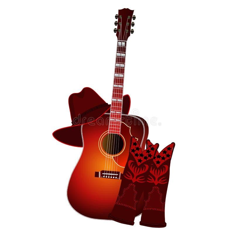 Sistema de la guitarra acústica, de las botas de vaquero y del sombrero de vaquero aislados en el fondo blanco Ilustración del ve stock de ilustración