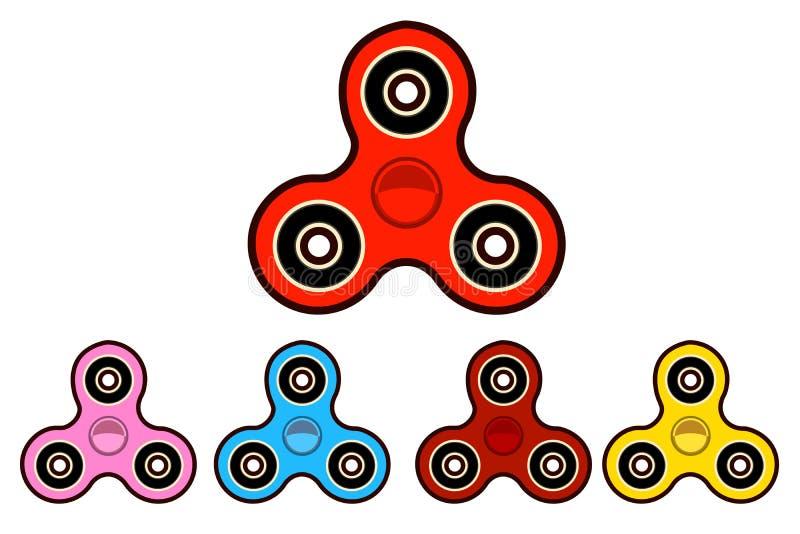 Sistema de la hiladora de la mano hilanderos de la persona agitada de diversos colores Vector plano del diseño libre illustration