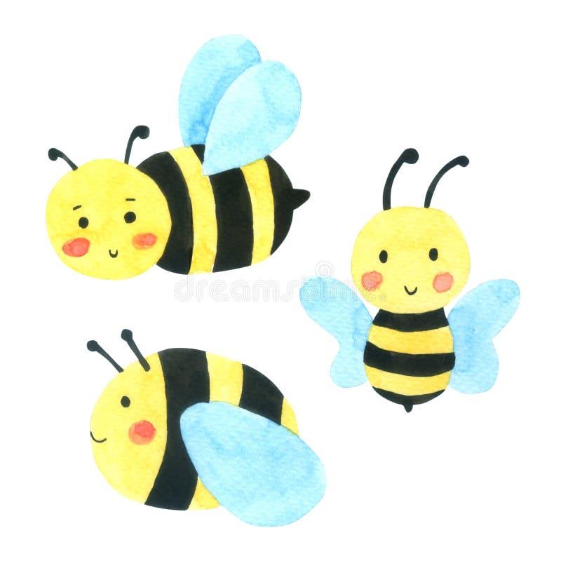 Sistema de la historieta de la acuarela de la abeja Abeja de la miel aislada en el fondo blanco ilustración del vector