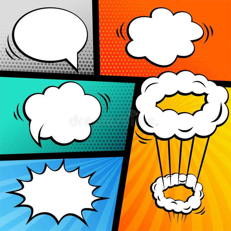 Sistema de la historieta con las burbujas de la charla stock de ilustración