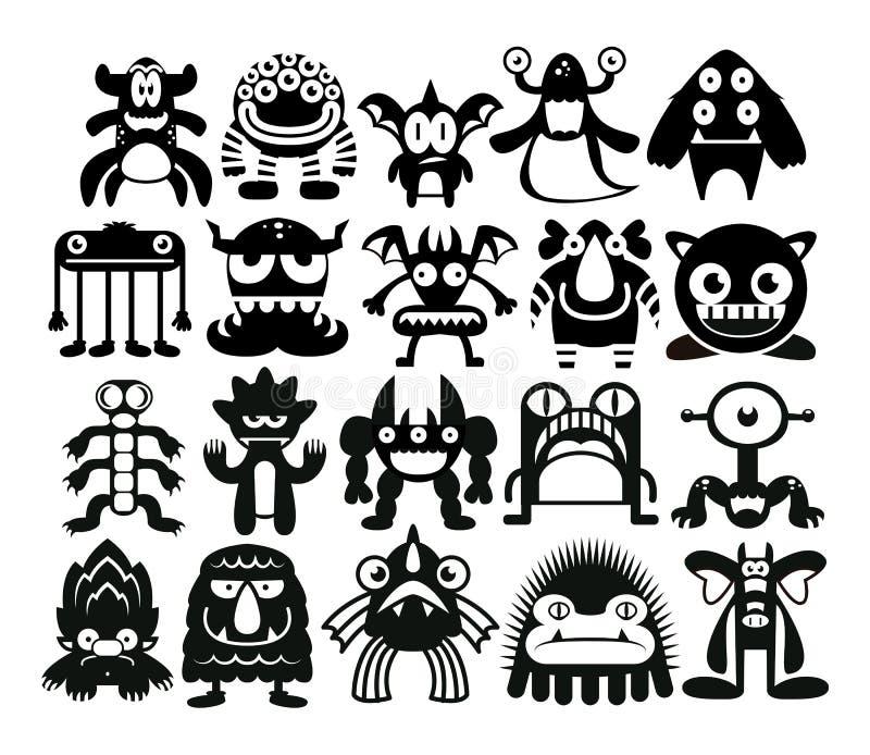 Sistema de la historieta de diversos monstruos aislados libre illustration