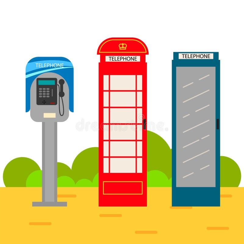 Sistema de la historieta de la cabina de teléfono stock de ilustración