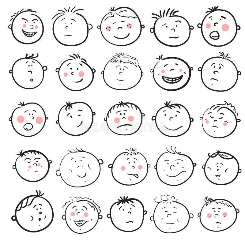 Sistema de la historieta de la cara del hombre stock de ilustración
