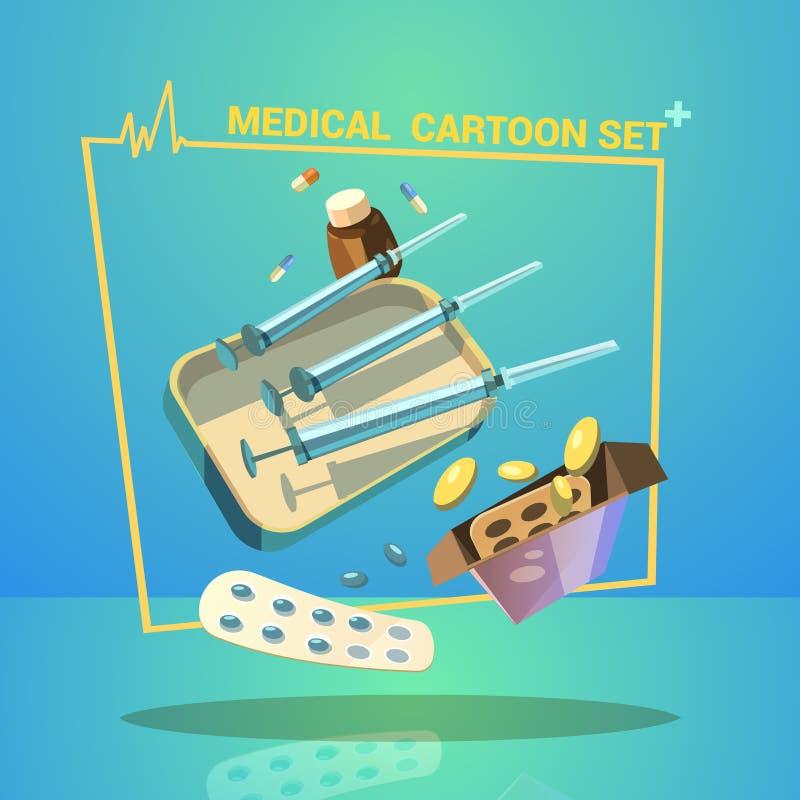 Sistema de la historieta de la medicina ilustración del vector
