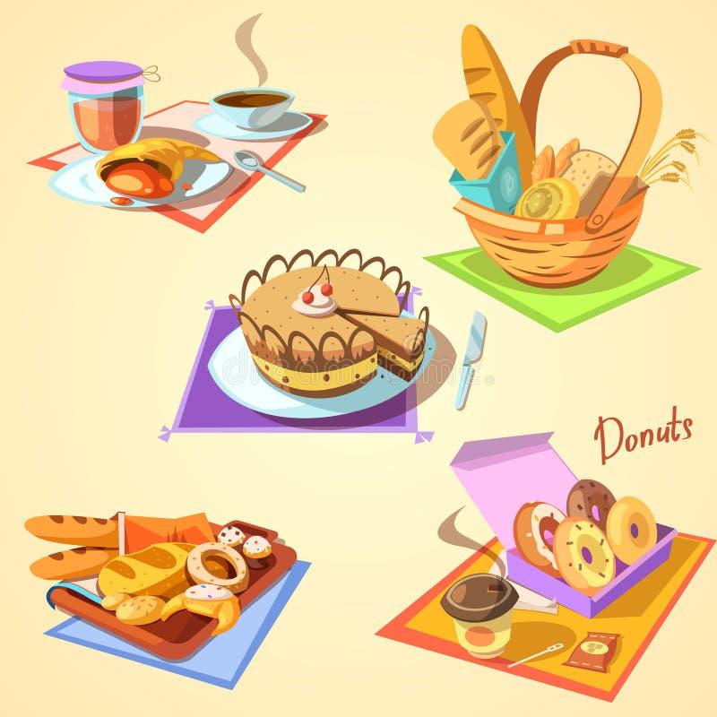 Sistema de la historieta de la panadería ilustración del vector