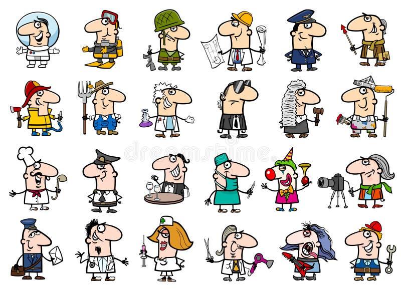 Sistema de la historieta de los empleos stock de ilustración