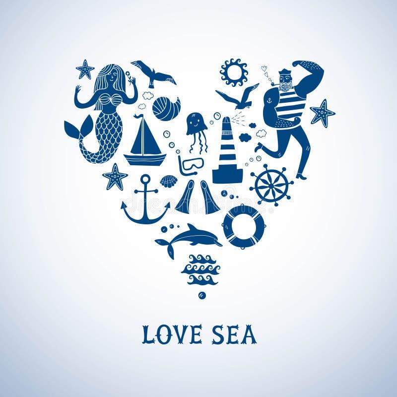Sistema de la historieta de los iconos del mar stock de ilustración