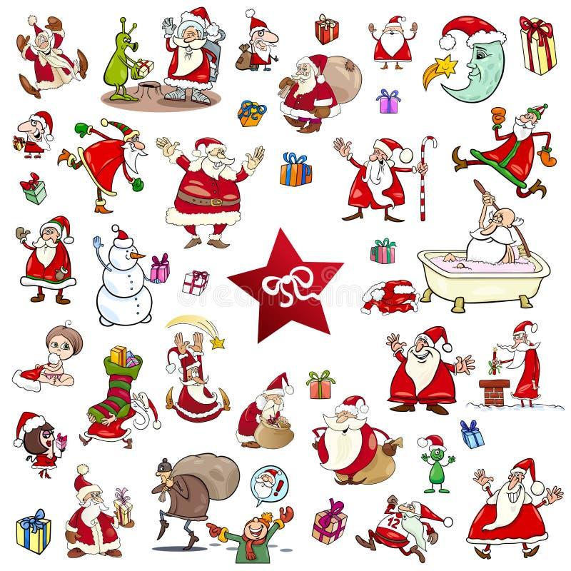 Sistema de la historieta de los temas de la Navidad ilustración del vector