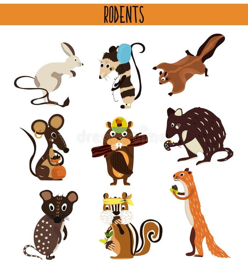 Sistema de la historieta de roedores lindos de los animales que viven en el planeta Ardilla, ratón, oposum, conejo, castor, ardil libre illustration