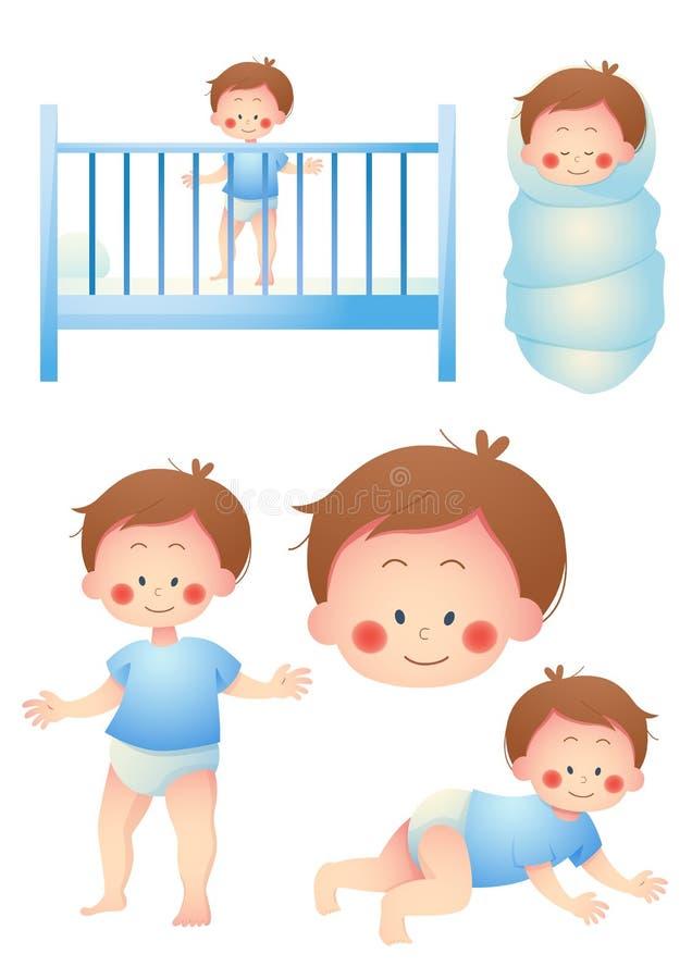 Sistema de la historieta del bebé ilustración del vector