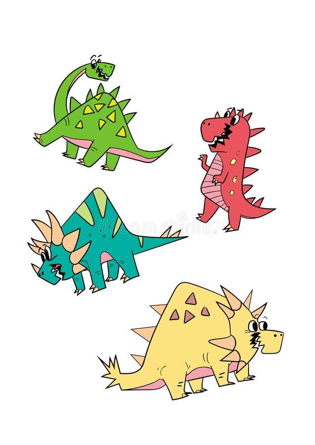 Sistema de la historieta del carácter del dinosaurio del ejemplo del vector foto de archivo libre de regalías