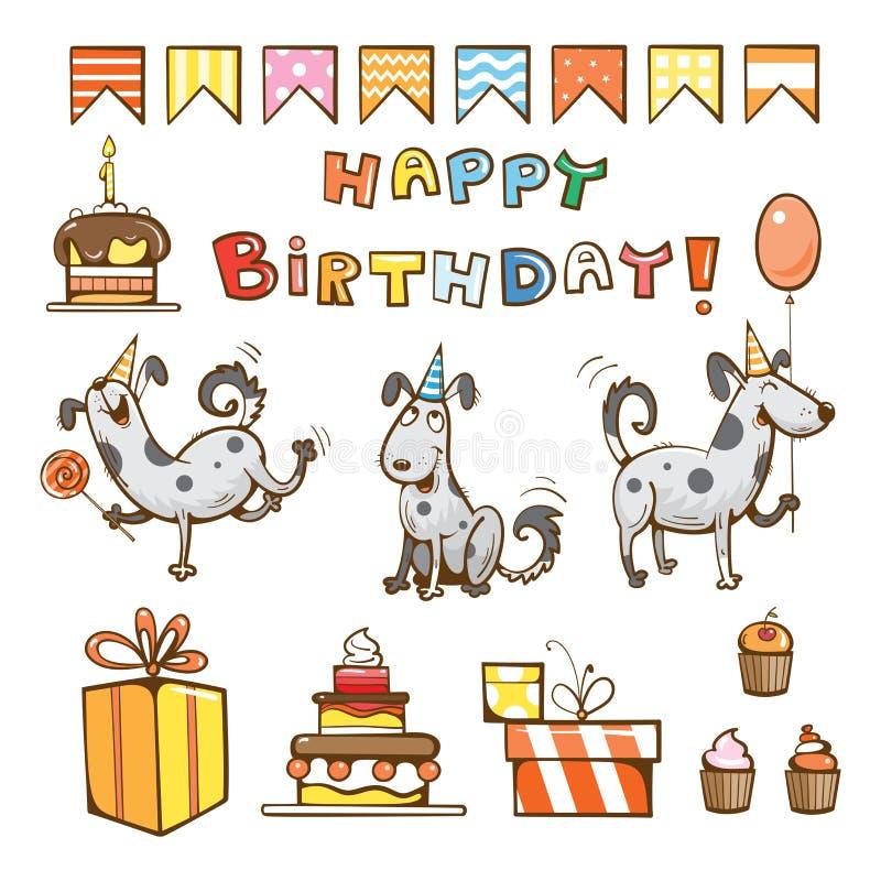 Sistema de la historieta del cumpleaños stock de ilustración