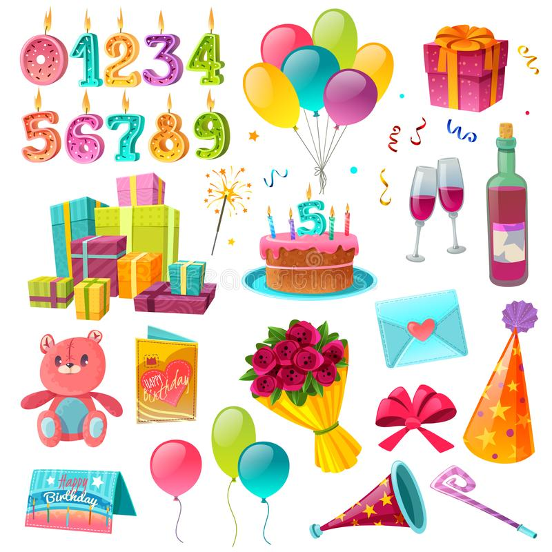 Sistema de la historieta del cumpleaños de la celebración stock de ilustración