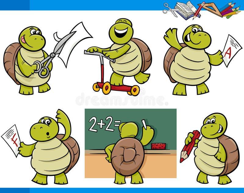 Sistema de la historieta del estudiante del carácter de la tortuga ilustración del vector