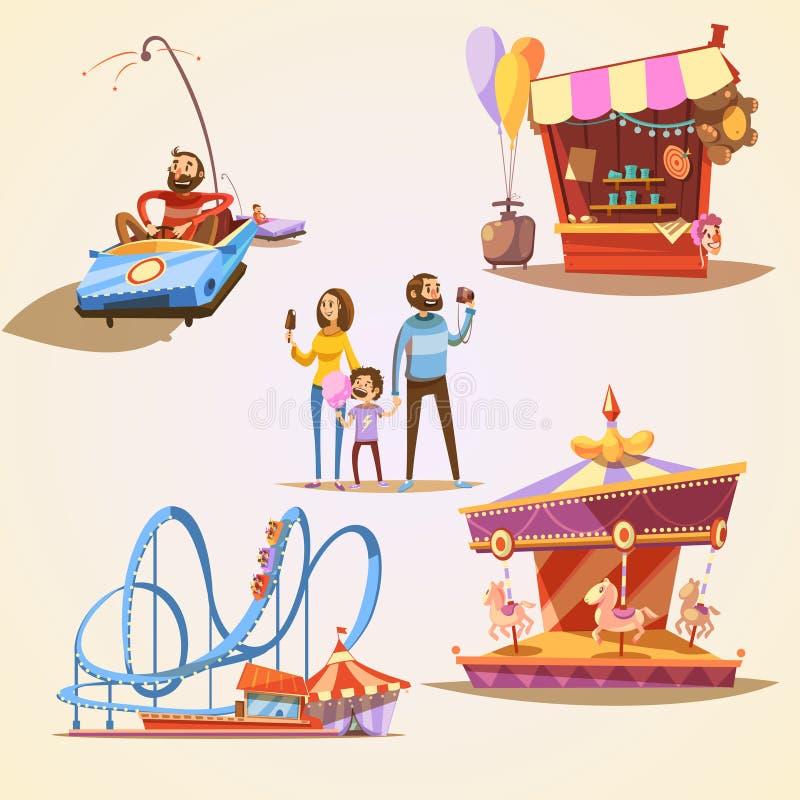 Sistema de la historieta del parque de atracciones libre illustration